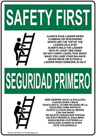OSHA Veiligheid Eerste Ladder/Scaffold Info in het Engels + Spaanse Metalen waarschuwingsborden, Privébord, Tuinhek Yard Sign