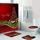 5-teiliges Duschvorhang-Set mit rutschfestem Teppich, WC-Deckelbezug & Badematte, 1 Survivor-Anhänger, Weihnachts-Schneemann-Duschvorhänge mit 12 Haken, Weihnachts-Duschvorhang-Sets für Badezimmer