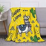 Cute Alpaca Flannel Fleece Blanket Soft Warm Fleece Throw Blanket Premium Durable Sofa Blanket Comfortable Lightweight Plush Throw Blanket for Office Home Bed 60'X80'