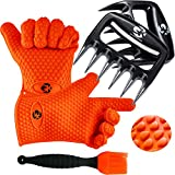GK's 3 + 3 BBQ Man's Dream Set: Silicone BBQ Grill Gloves Plus Meat Claws Plus Silicone Basting...