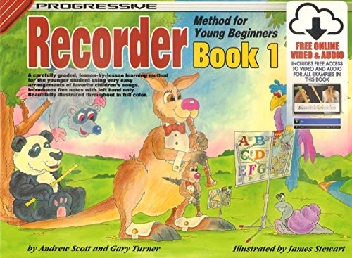 18337 - Progressive Recorder Method for Young Beginners Book 1 - Book/Online Video & Audio (Progressive Young Beginners)