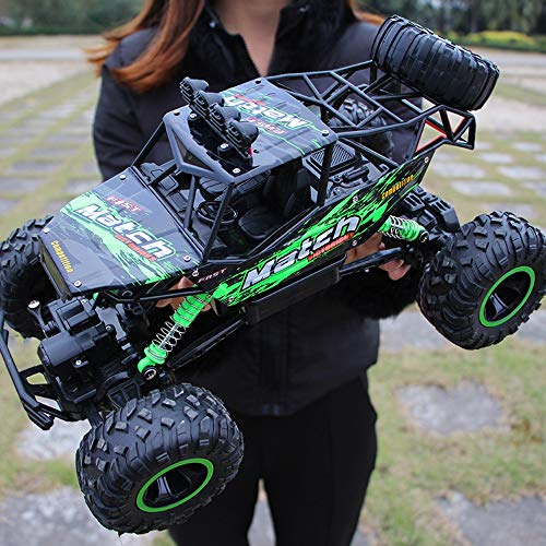 Ledu 4WD off-road remote control car, 2.4Ghz wild climbing high speed toy drift car rechargeable boy girl toy double motor driving big car,Green