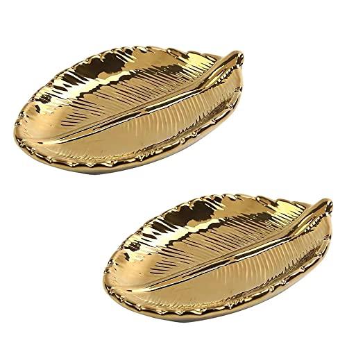 Aloces 2 Pezzi Vassoio di Foglie D'oro, Vassoio Portaoggetti in Ceramica, Vassoio per Gioielli Foglia d'oro per Chiavi Telefono Squillo Collana Bracciale (14.8 x 9 cm)