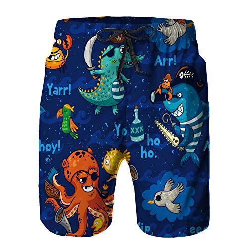 Badehose Herren Schnelltrocknende Boardshorts, Tier mit Unterwasser-Piraten-Krokodil-Oktopus-Hai-Krabbe niedlicher Baby-Ozean-Karikatur Sommer Strandshorts S