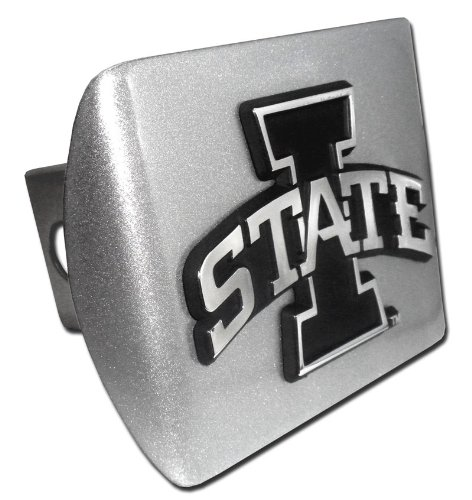 Elektroplate Iowa State Cyclones Brushed Silver with I State Emblem Metal Trailer Hitch Cover Fits 2 Inch Auto Car Truck Receiver with NCAA College Sports Logo