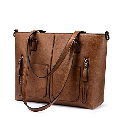 Large Shoulder Bag for Women Faux Leather Purse with Multi-Pockets Designer Handbag