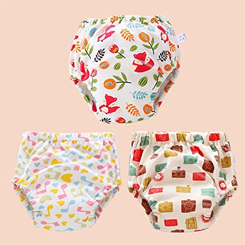 XFSSFWB Paquete de 3 Pantalones de Entrenamiento para niños pequeños Impermeables, Pantalones para pañales, Ropa Interior de Entrenamiento para niños (Color : D, Size : 11-18kg)