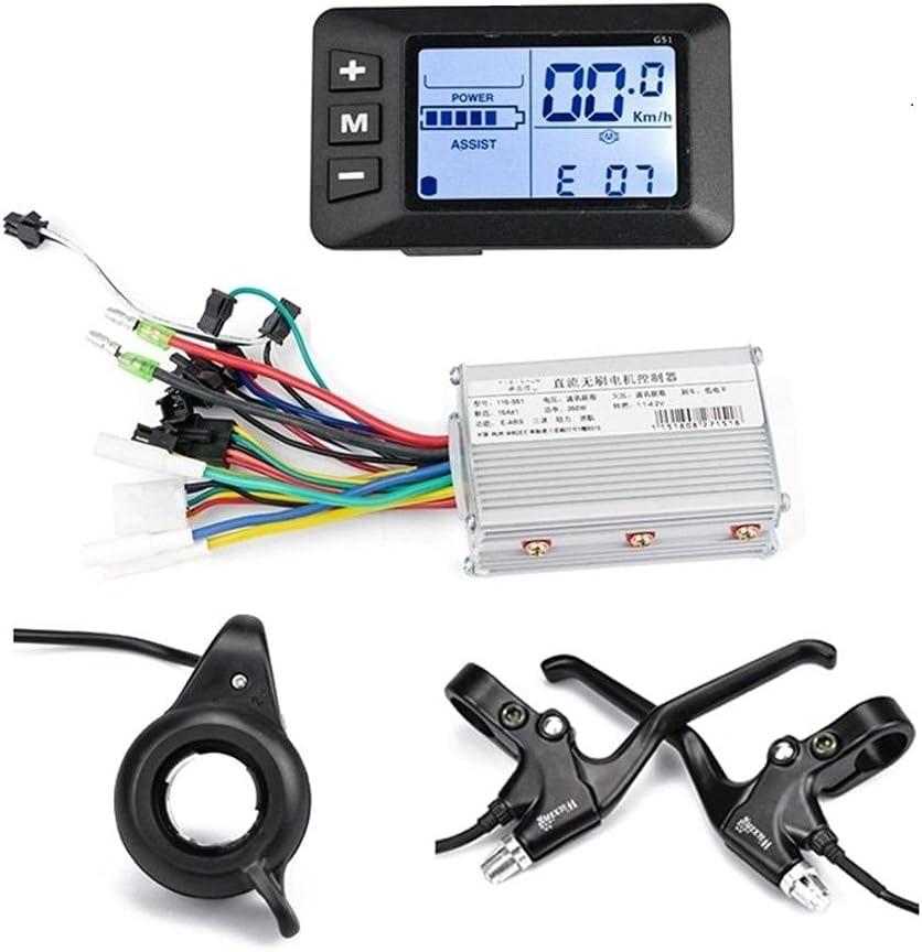 XDDQ Ebike BLDC Controller 24V 36V 48V 350W 500W Vespa eléctrica Vespa eléctrica Pantalla del Acelerador de la Palanca de Freno de la Palanca de la luz del Interruptor de la Bicicleta de E-Bike
