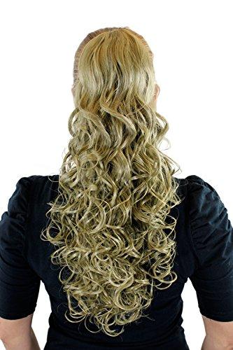 Postiche, couette / tresse blond clair cendré env. 50 cm, boucles, clip pince papillon XF-0093-24