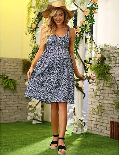 Maacie Mujer Vestido Bohemio de Tirantes con Botones para Premamá 2XL 51S21#2
