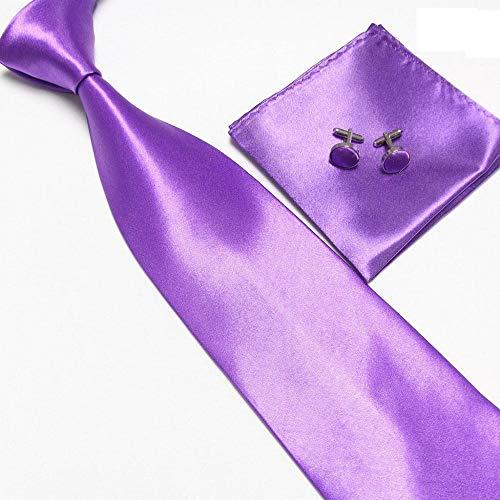 LUHELDM Conjunto de Corbata de Hombre sólido Rosa Gemelos pañuelos ...