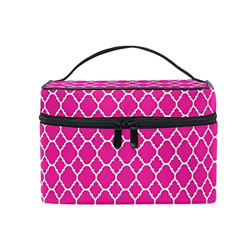 Rosa Quatrefoil patrón cosmético bolsa viaje maquillaje tren casos organizador almacenamiento