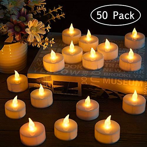 Candele a LED senza fiamma, funzionamento a batteria, realistiche e luminose, per feste, matrimoni, compleanni, Halloween, decorazioni per la casa (batterie incluse), plastica, 50 Pack