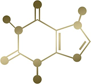 Applicable Pun Caffeine Molecule Coffee Energy - Chemical Compound Skeletal Formula - Vinyl Decal for Outdoor Use on Cars, ATV, Boats, Windows and More - Gold 4 inch