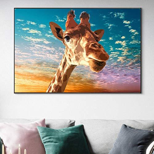 Carteles e impresiones artísticos de pared de jirafa dibujos animados decorativos animales salvajes pinturas en lienzo 60x80cm sin marco