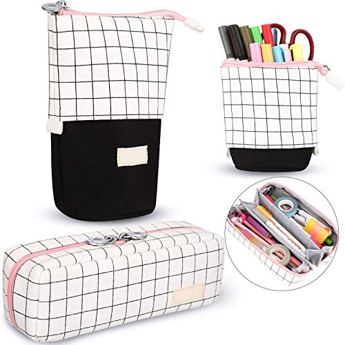 2 Pieces Telescopic Standing Pencil Case Grid Pencil Pouch Transformer Pencil Holder Multi Compartment Pen Bag Case for Girls Students School Office Supplies