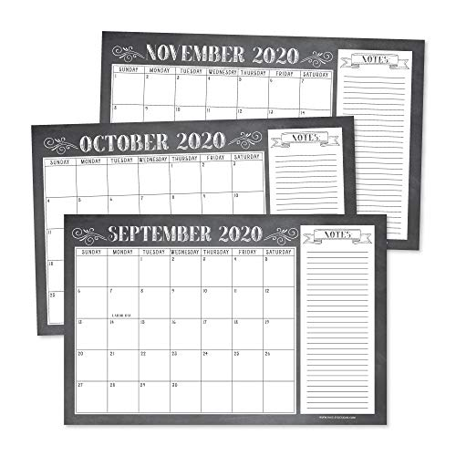 Chalkboard Rustic 2020-2021 Large Monthly Desk or Wall Calendar Planner Big Giant Planning Blotter Pad, 18 Month Academic Desktop, Hanging 2-Year Date Notepad Teacher, Family or Business Office 11x17