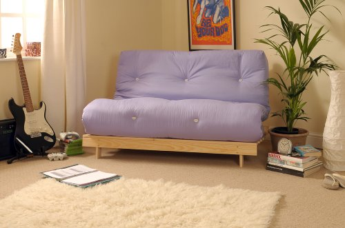 Comfy Living 4ft Small Double 120cm Wooden Futon Set with LILAC Mattress