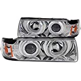 AnzoUSA 121326 Chrome Clear/Amber G2 Projector Halo Headlight for BMW 3 Series/E36-2 Piece - (Sold in Pairs)