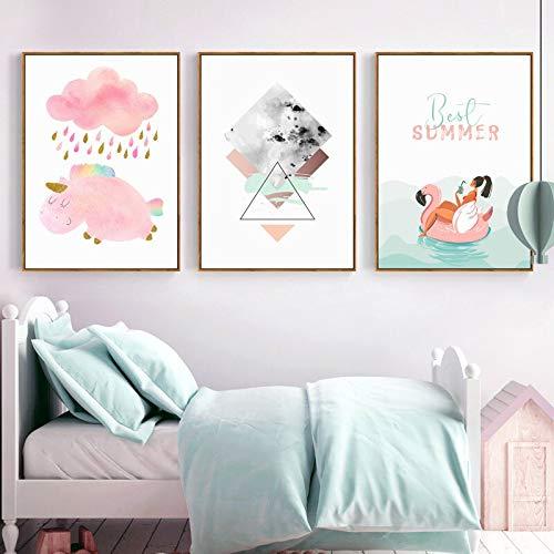 SDFSD Nordic Pink Cartoon eenhoorn canvas schilderij schattige dierprint muurkunst poster wandschilderij voor kinderkamer babykamer huisdecoratie 90 * 120cm G