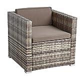 ESTEXO Polyrattan Gartensessel Loungesessel Rattan Lounge Sessel Gartenstuhl Stuhl (Beige-Braun)