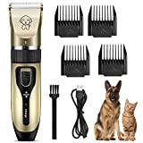 BIMZUC Dog Clippers, Low Noise Rechargeable Cordless Dog Grooming Kit, Professional Electric Hair Trimmers Shaver for Dogs Cats Pets