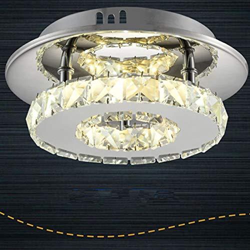 ACHICOO 12 W 85-265 V LED plafondlamp gemaakt van roestvrij staal, ronde vorm, driekleurig licht, barnsteenkleurig kristal, 12 W