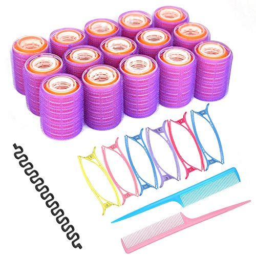Velcro Hair Rollers Set,18 Rollers, 25mm, 30mm, 44mm, 12 Duckbill Clips, 2 Combs, a Braid Device, Used for Haircut Styling