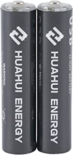 Lithium AAA Rechargeable Batteries with Micro USB Charging Port 1.5V/ 400mAh, 1000 Cycle 1h Quick Charge (2AAA)