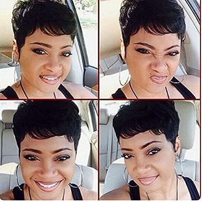 HOTKIS Human Hair Short Pixie Wigs for Black Women