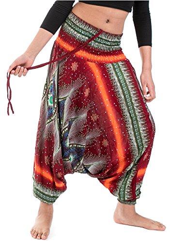 Wakapu Hose - Prakasha One Size Aladinhose Pluderhose Haremshose Pumphose Shalwar Goa (Rot)