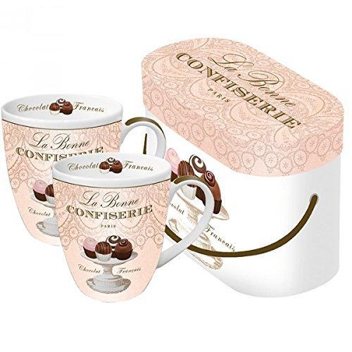 La Bonne Confiserie Henkelbecher Kaffee Cup Set Kaffeetassen Porzellan
