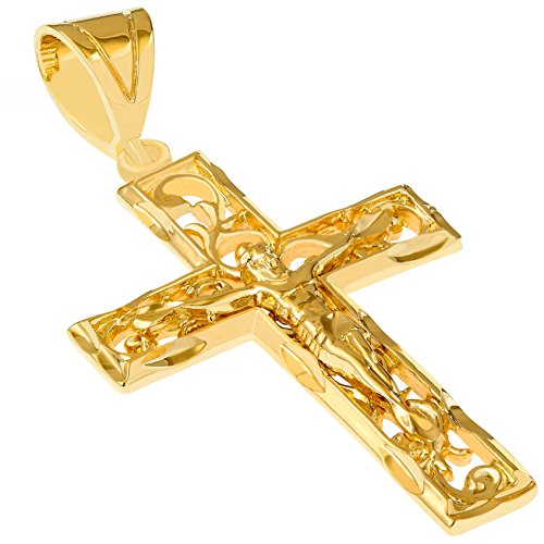 Lifetime Jewelry Large Filigree Crucifix Cross Necklace for Men & Women 24k Gold Plated (Gold Crucifix Only - NO Chain)