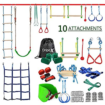 Ninja Warrior Obstacle Course for Kids - Ninja Slackline 50' with Most Complete Accessories for Kids, Swing, Trapeze Swing, Rope Ladder, Obstacle Net Plus 1.2M Auxiliary Line - Have Fun and Keep Fit