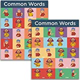 Sign Language Posters for Classroom - 2 Pack Includes Everyday and Commonly Used Words Sign Language Charts for Kids. ASL Posters for Classrooms are Each 16x20 inches, Dry Erase, and Made in the USA.