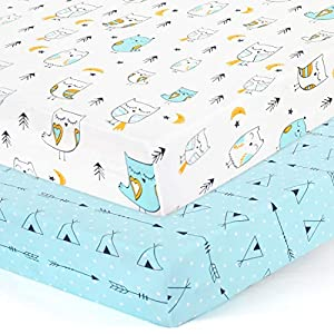 Stretchy Fitted Crib Sheets Set-Brolex 2 Pack Portable Crib Mattress Topper