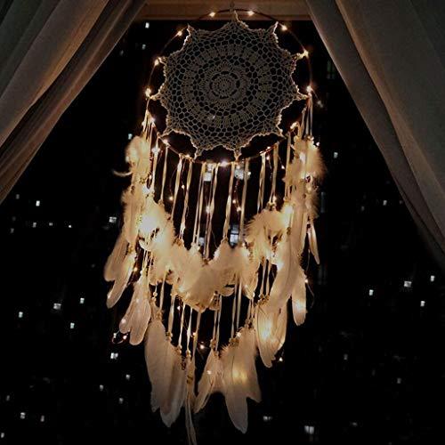 Große Dream Catcher mit Lichtern Handarbeit gehäkelte traditionelle Kunsthandwerk Feder Ornamente Innenwanddekoration Dream Catcher Geschenk (Farbe : Brown)