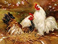 DIY 2羽の雌鶏を描く大人の子供たちのデジタル絵画