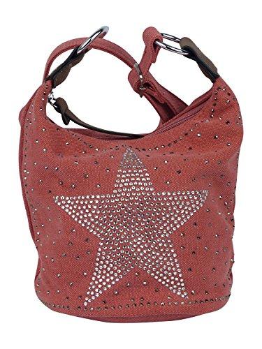 yourlifeyourstyle Kleine glitzernde Umhängetasche Stern Tasche - Damen Mädchen Teenager Tasche - Maße ohne Schulteriemen 20 x 17 x 15 cm - leicht verstärkter runder Boden (rosa)