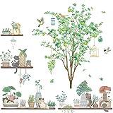 Suprosper ウォールステッカー 北欧 木 鳥 おしゃれ 30 90cm 4枚 壁紙シール 北欧木 鉢植え インテリア シール 剥がせる グリーン 壁飾り リビングルーム(木 鉢植え)