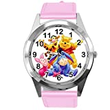 Pink Leather Band Quartz Watch for Teddy Bear Fans