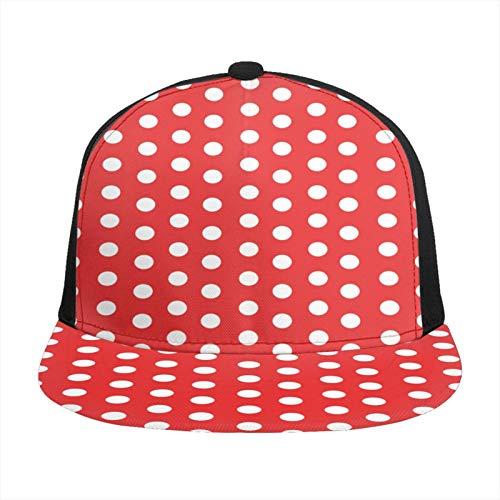 Easionerol Hip-Hop-Mütze, für Herren und Damen, mit Patchworkmuster, Rot / Weiß
