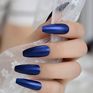 CoolNail Professional Dark Royal Blue Coffin Nails Extra Long Matte Press on Ballerina False Nails Frosted Sharp Fake Fingers Party nails