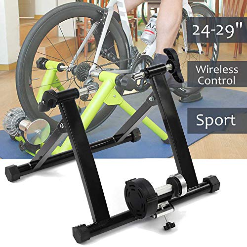 WOGQX Bike Trainer Stand, Portable Cycle Bike Trainer 24-29 Inch Indoor Bicycle Bike Trainer Exercise Fitness Magnetic Stand 150Kg