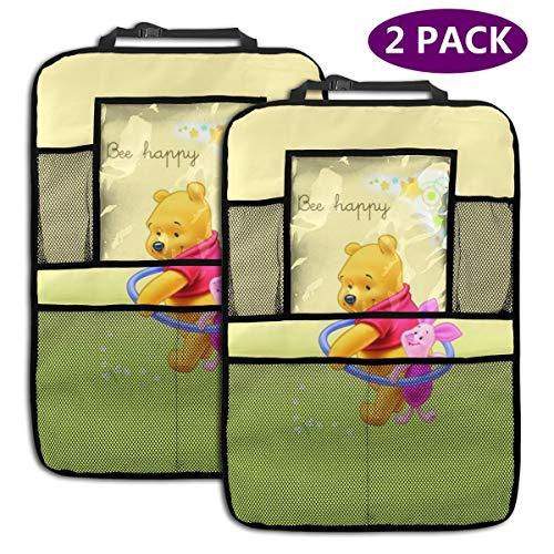 TBLHM Happy Winnie l'ourson Lot de 2 Sacs de Rangement pour siège arrière de Voiture avec Support pour Tablette