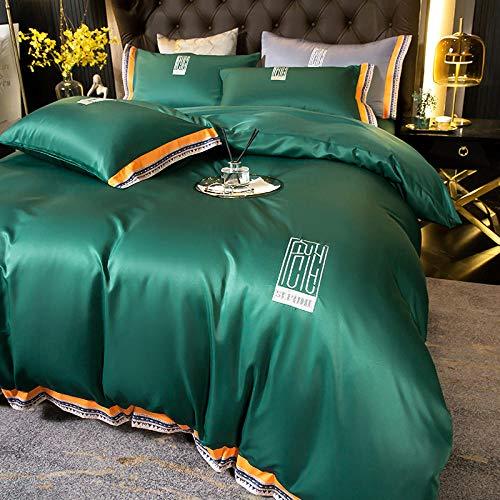 juegos de sábanas de 80,Verano hielo seda de cuatro piezas estilo norte europeo falda de seda europea lavado de agua sábanas de seda lecho de boceto adecuado para regalos de hoteles familiares-K_Cama