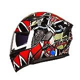 Mdsfe Casco moto invernale da uomo a doppia lente scooter moto invernale da uomo casco da moto invernale - 4 X XXL