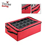Tiny Tim Totes Red | Premium | 48 Christmas Ornament Organizer Storage Box Case