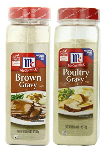 McCormick Gravy Mix Value Bundle - 2 Items- McCormick Brown Gravy, 21 Ounce and McCormick Poultry Gravy 18 Ounce