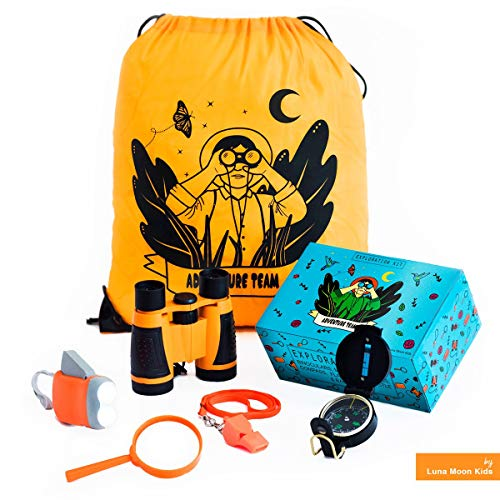 Outdoor Exploration kit for Kids. Adventure Educational Childrens Toy. Binoculars, Flashlight, Compass, Magnifying Glass, Whistle and Backpack. Great Gift Set for Camping, Birthday and STEM Learning